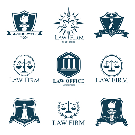 law office: Law office set. Law firm labels. Law. Legal concepts.