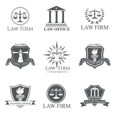 law office: Set of gray law office, firm or company, lawyerattorney services labels, signs and symbols isolated on white background Illustration