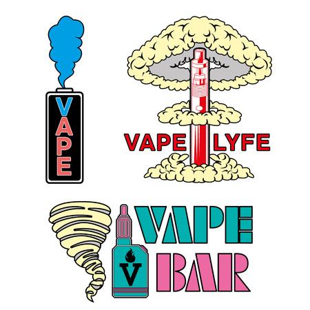 Vape shop and bar Isolated on white background. Set of vape, e-cigarette emblems, labels, prints Illustration