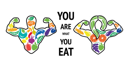 Healthy lifestyle. Sports nutrition. Athlete food, healthy people. Diet, protein food. Sport, bodybuilder. You ere what you eat.