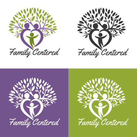 medical . Design for health-care organization, spinal surgery clinic, orthopaedic and spine center, therapist, massage cabinet. Brand identity element for your business. Growing family tree concept Vettoriali