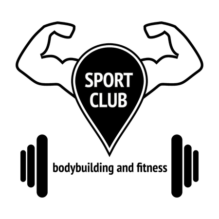 sport design, silhouette action symbol icon . Fitness club with stylized ornamental muscular body / illustration. Isolated on white background.
