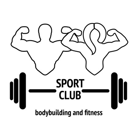 Abstract graphic illustration with silhouettes of man with barbell and woman with dumbbell as a design  or poster for bodybuilding or fitness club. Isolated on white background.
