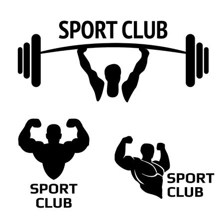 Sport club. Bodybuilding emblems design element. Sports icons and elements. Bodybuilder, athlete icon.