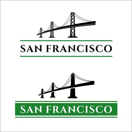 San Francisco - Oakland Bay Bridge illustration. California. San Francisco Business Center