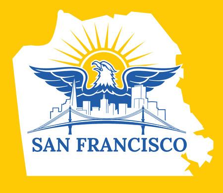 beach panorama: Welcome to USA. San Francisco City. California Illustration