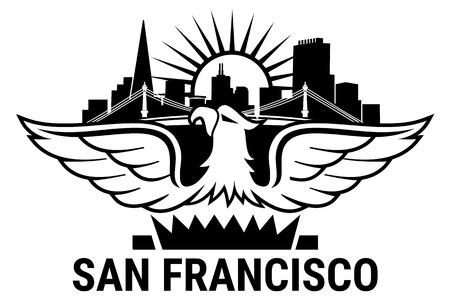 beach panorama: San Francisco City. California. Welcome to USA. Illustration