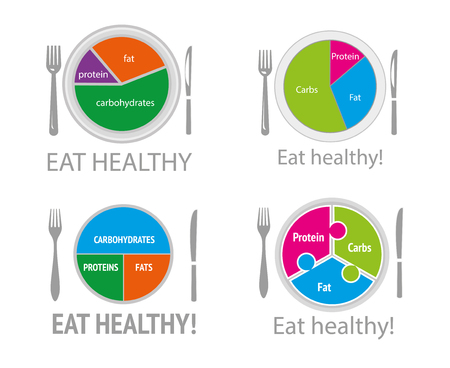 Healthy nutrition food. Health eating. Balanced diet. Plan meal. Chart and icons. Vektorové ilustrace