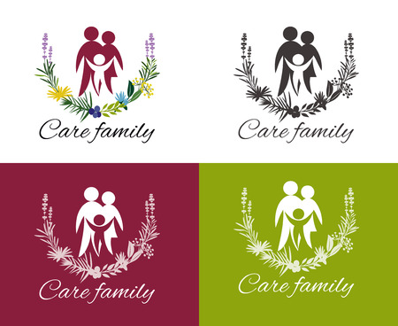 Happy family concepts: father, mother, daughter and son together. Family care design. Child Care and Medical Services. Child freedom and active lifestyle. Love family.
