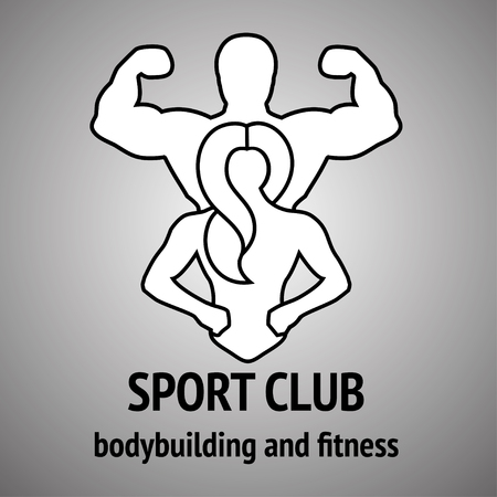 sport woman: Man and woman Fitness . Gym club . Sport Fitness club creative concept. Sign, Symbol, badge.