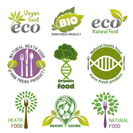 Set of  healthy eating. Set of icons and elements for organic food. Farm Fresh label and element. Organic, bio, ecology natural design template.