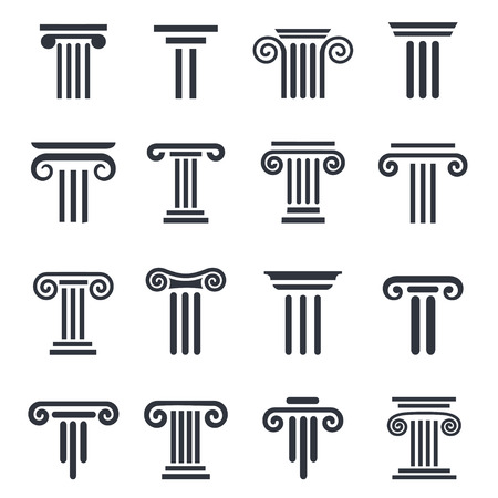 architectural elements: Ancient columns icon set. black column icons set on white background.