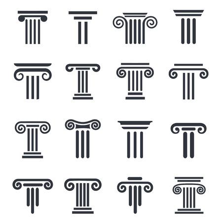 derecho romano: Columnas antiguas conjunto de iconos. iconos de las columnas negras establecidos en el fondo blanco.