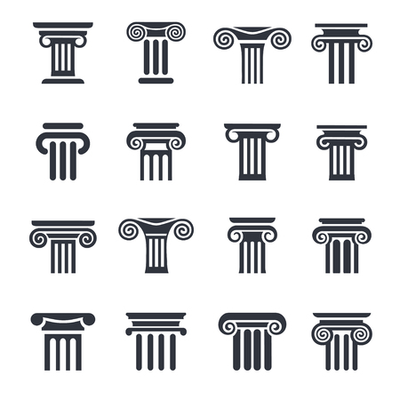 Ancient columns icon set. black column icons set on white background.