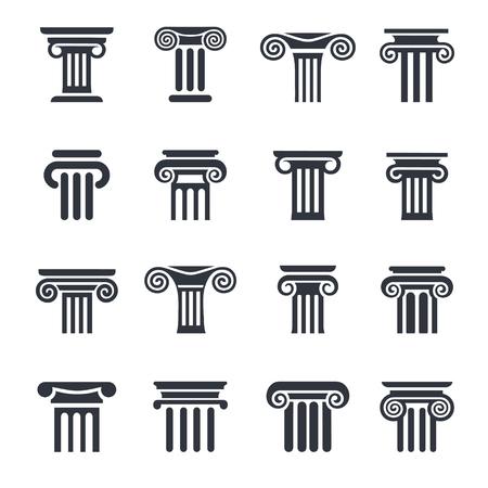 Ancient columns icon set. black column icons set on white background.