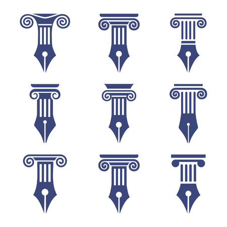 lawful: Set antique columns. Can be used as for law firm, architectural, historical or educational concepts. Capital I letter in a ancient column style. Illustration
