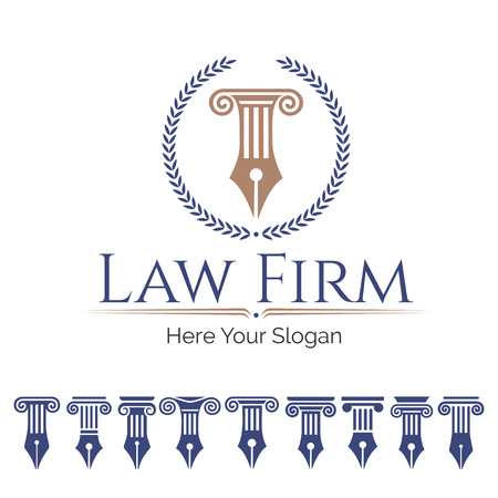 lawful: Corporate Identity law firm, Law Office, Lawyer services, template. Set antique columns. Can be used as for law firm, architectural, historical or educational concepts