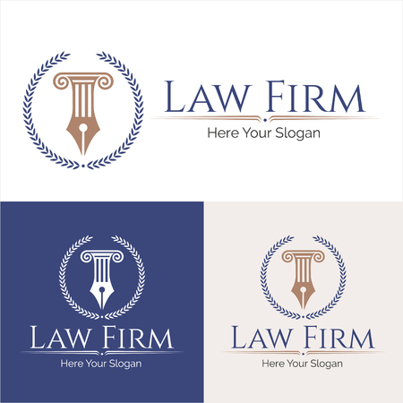 Law office lawyer set of vintage labels. full and easy to edit able.  Law office in the form of shield with greece column.