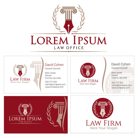 Law with column and wreath in golden colors. Business card design templates for law firm, company, lawyer or attorney office. Corporate Identity law firm, Law Office, Lawyer services Vettoriali