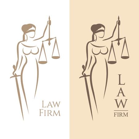 illustratie van Themis standbeeld die schalen balans en zwaard op een witte achtergrond en silhouet op gekleurde achtergrond. Symbool van rechtvaardigheid, wet en orde