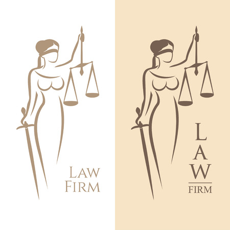 illustration of Themis statue holding scales balance and sword isolated on white background and silhouette on colored background. Symbol of justice, law and order Vettoriali
