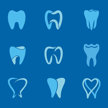 Set of teeth, tooth icons on blue background. Can be used as for dental, dentist or stomatology clinic, teeth care and health concept Vettoriali