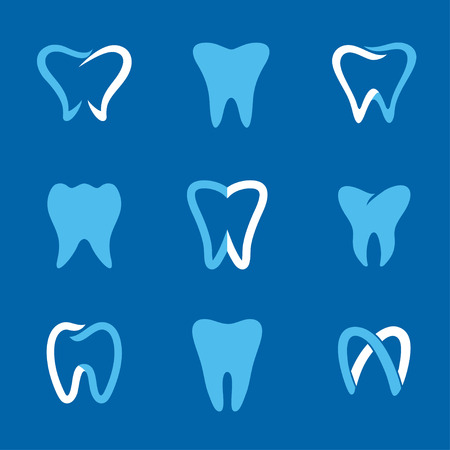 Set of dental clinic and icons for stomatology or dentist. Dental templates. Abstract teeth signs. A set of dental icon design template elements. Abstract stomatology signs.