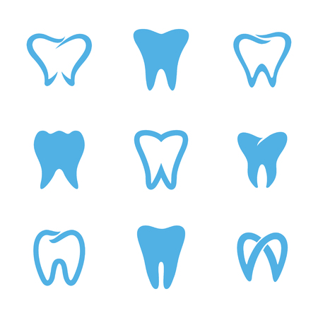 Set of blue teeth, tooth icons isolated on white background. Can be used as for dental, dentist or stomatology clinic, teeth care and health concept Vettoriali