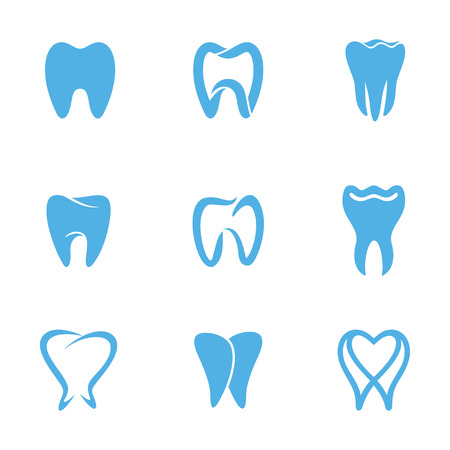 Tooth icons for stomatology, dentist and dental care clinics. Set of abstract icons, signs and symbols with tooth for dental clinic concept in blue and white colors. Health Dent design template linear style. Dental clinic concept icon.