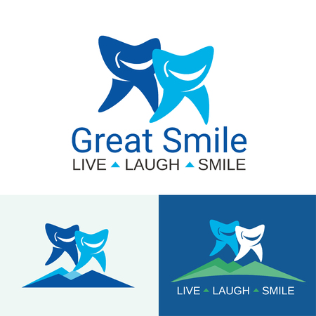 teeth white: with two big and small teeth with cute faces for family dental clinic on white and blue backgrounds Illustration