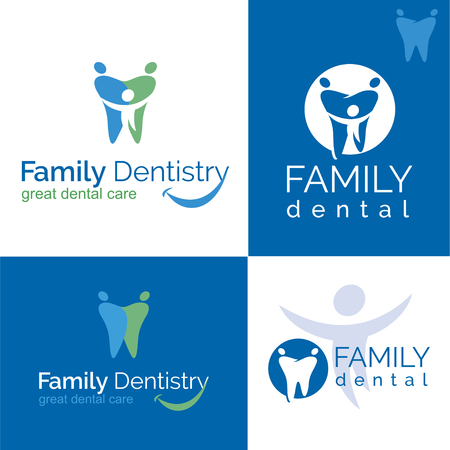 Abstract illustration of teeth. Dental . Family dental clinic on white and blue backgrounds.
