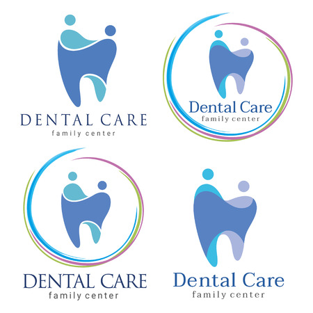 Abstract illustration of teeth. Dental . Family dental clinic. Family dental icon