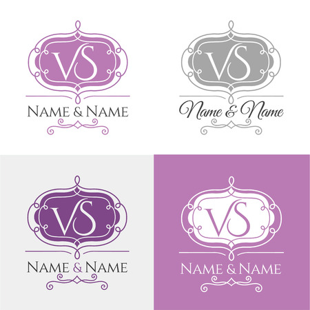 Set of elegant floral monogram design templates for one or two letters. Wedding monogram. Calligraphic elegant ornament. Business sign, monogram identity for restaurant, boutique, cafe, hotel. Vettoriali