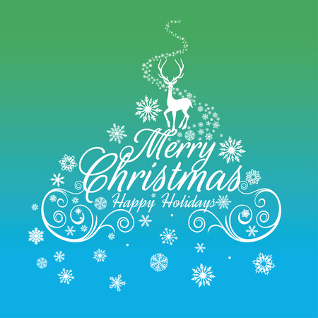 Merry Christmas Greeting Card with Typography. Merry Christmas lettering, illustration. postcard with calligraphic text. Christmas Background With Typography Vettoriali