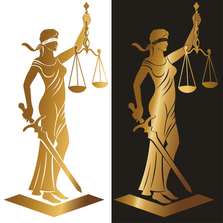 scale of justice: lady justice Gold  Vector illustration silhouette of Themis statue holding scales balance and sword isolated on white background. Symbol of justice, law and order. Illustration