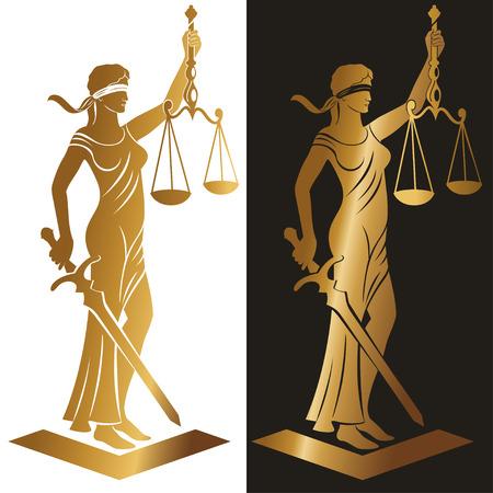 Señora Justicia oro / ilustración del vector silueta de Themis equilibrio escalas estatua que sostiene la espada y aislado en el fondo blanco. Símbolo de la justicia, la ley y el orden. Ilustración de vector