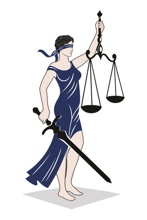 lady justice law / Vector illustration silhouette of Themis statue holding scales balance and sword isolated on white background. Symbol of justice, law and order.