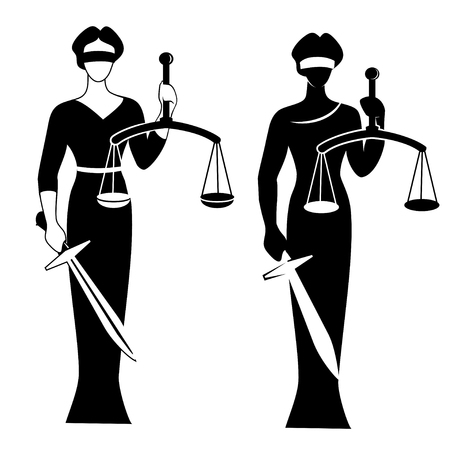 lady justice black / Vector illustration silhouette of Themis statue holding scales balance and sword isolated on white background. Symbol of justice, law and order.