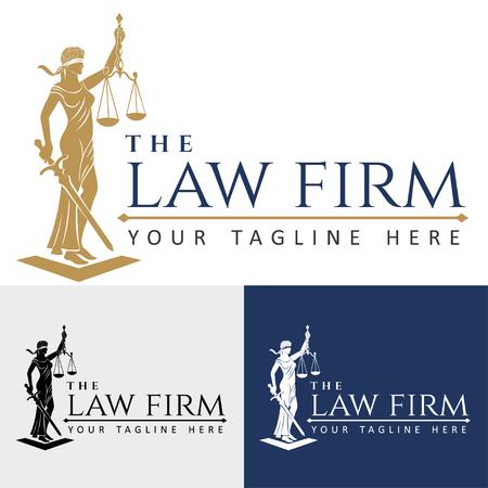 Logo Anwaltskanzlei Dame des Rechts / Gerechtigkeit Göttin Themis, Dame Gerechtigkeit Femida. Stilisierter Konturvektor. Blinde Frau Waage und Schwert.
