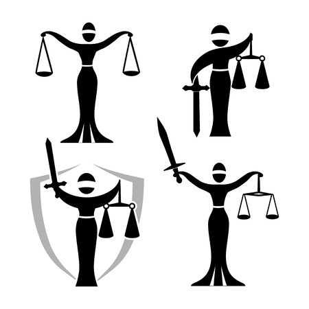 lady justice black set  Justice Goddess Themis, lady justice Femida. Stylized contour vector. Blind woman holding scales and sword.