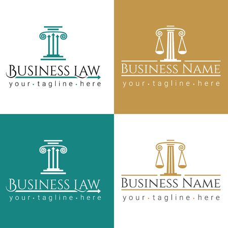 business law logo Column / Law office logo with greece column and scales. The judge, Law firm logo template, lawyer set of vintage labels. Vettoriali