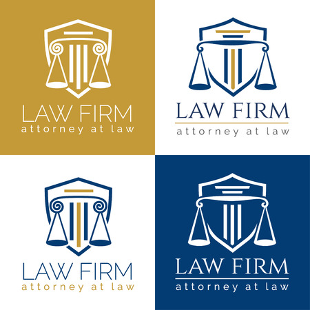 law firm logo Column / Law office logo in the form of shield with greece column and scales. The judge, Law firm logo template, lawyer set of vintage labels.