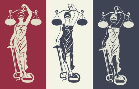 Dame Gerechtigkeit Themis 3 / Vektor-Illustration Silhouette der Themis Statue halten Skalen Gleichgewicht und Schwert auf farbigen Hintergrund isoliert. Symbol der Gerechtigkeit, Gesetz und Ordnung