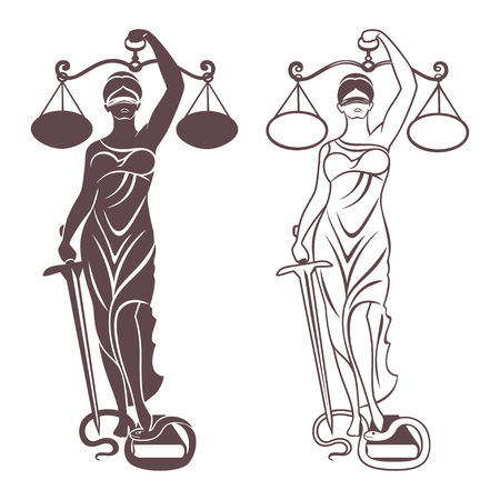 lady justice Themis  Vector illustration silhouette of Themis statue holding scales balance and sword isolated on white background. Symbol of justice, law and order.