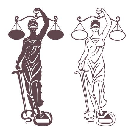 Vrouwe Justitia Themis  Vector illustratie silhouet van Themis standbeeld die schalen balans en zwaard op een witte achtergrond. Symbool van rechtvaardigheid, wet en orde. Stock Illustratie