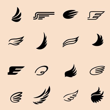 wings icons set 4 / Wings icons vector set. Wings. Set of design elements.
