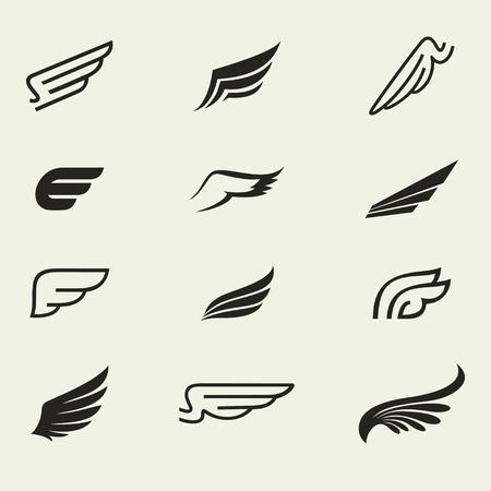 wings icons set 1 / Wings icons vector set. Wings. Set of design elements.