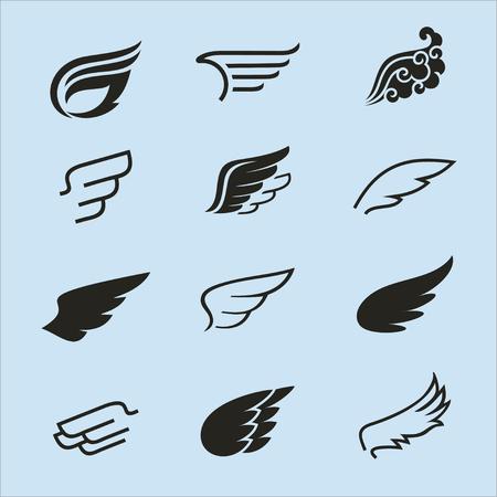 wings icons set 2 / Wings icons vector set. Wings. Set of design elements. Vettoriali