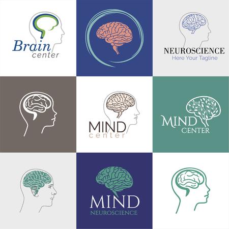 Brain, Creative mind, learning and design icons. Man head, people symbols.Human intelligent smart mind. Neurology symbol.