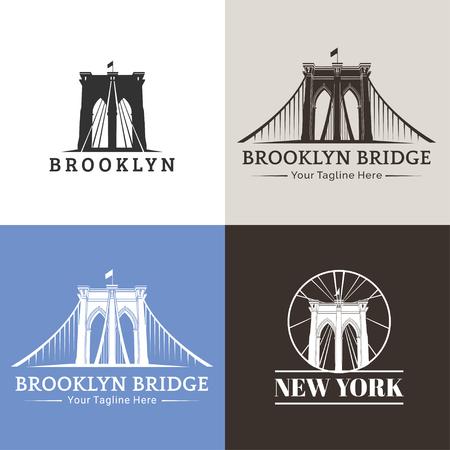 New York symbol - Brooklyn Bridge - vector illustration